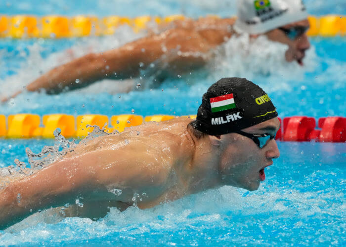 Jul 28, 2021; Tokyo, Japan; Kristof Milak (HUN) in the men's 200m butterfly final during the Tokyo 2020 Olympic Summer Games at Tokyo Aquatics Centre. Mandatory Credit: Rob Schumacher-USA TODAY Sports