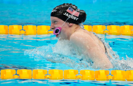 Jul 31, 2021; Tokyo, Japan; Lydia Jacoby (USA) in the mixed 4x100m medley relay final during the Tokyo 2020 Olympic Summer Games at Tokyo Aquatics Centre. Mandatory Credit: Rob Schumacher-USA TODAY Sports
