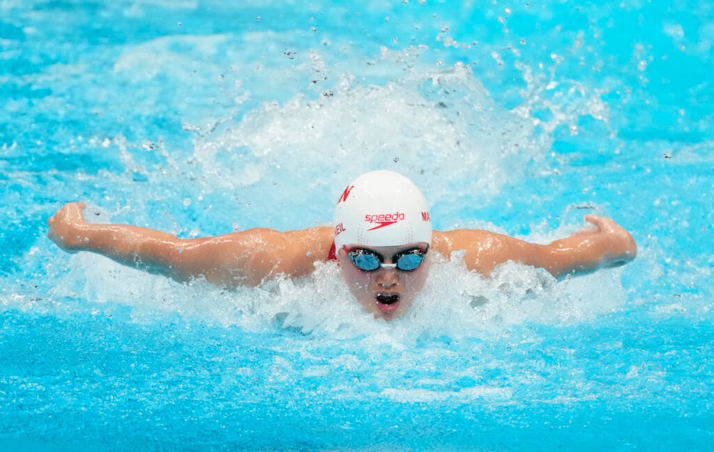 Jul 24, 2021; Tokyo, Japan; Margaret Macneil (CAN) during the women's 100m butterfly heats during the Tokyo 2020 Olympic Summer Games at Tokyo Aquatics Centre. Mandatory Credit: Rob Schumacher-USA TODAY Network