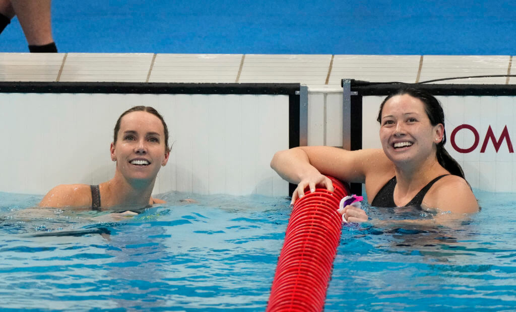 Jul 30, 2021; Tokyo, Japan; Emma McKeon (AUS) and Siobhan Bernadette Haughey (HKG) finish first and second in the women's 100m freestyle final during the Tokyo 2020 Olympic Summer Games at Tokyo Aquatics Centre. Mandatory Credit: Rob Schumacher-USA TODAY Sports