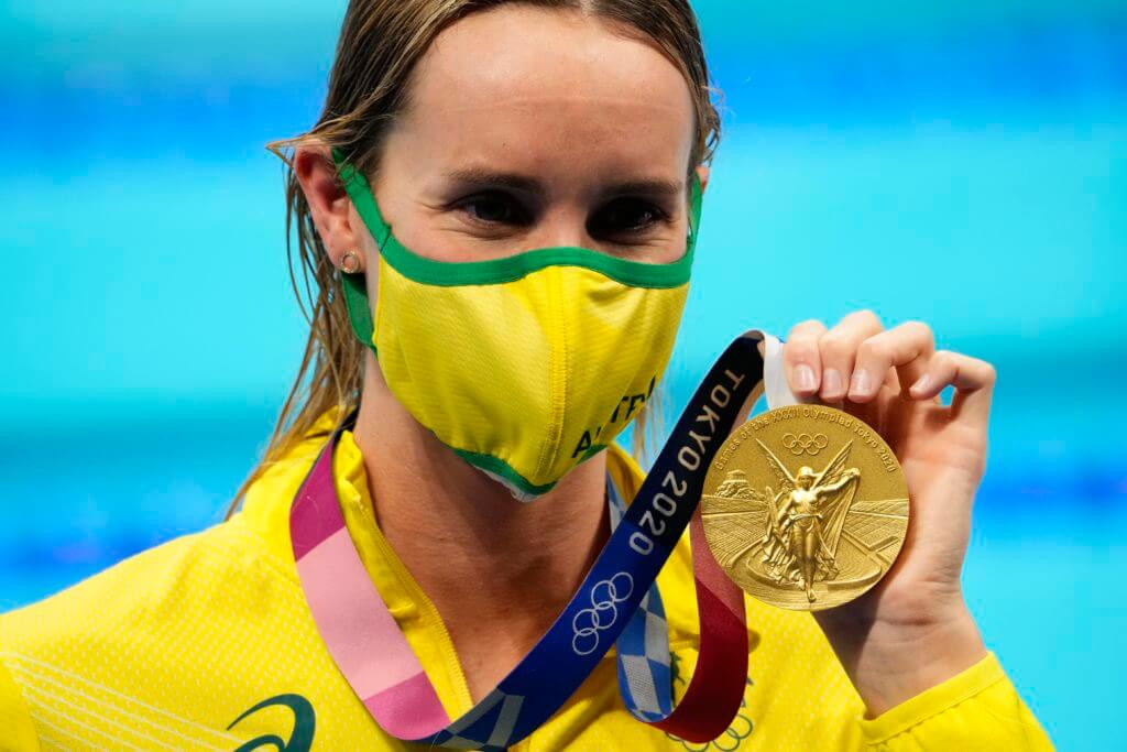 emma mckeon, olympics, Aug 1, 2021; Tokyo, Japan; Emma McKeon (AUS) with her gold medal during the medals ceremony for the women's 50m freestyle during the Tokyo 2020 Olympic Summer Games at Tokyo Aquatics Centre. Mandatory Credit: Robert Hanashiro-USA TODAY Sports