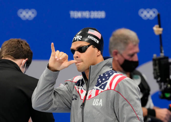 Jul 31, 2021; Tokyo, Japan; Michael Andrew (USA) before the men's 50m freestyle semifinals during the Tokyo 2020 Olympic Summer Games at Tokyo Aquatics Centre. Mandatory Credit: Rob Schumacher-USA TODAY Sports