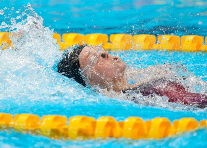Jul 31, 2021; Tokyo, Japan; Phoebe Bacon (USA) competes in the women's 200m backstroke final during the Tokyo 2020 Olympic Summer Games at Tokyo Aquatics Centre. Mandatory Credit: Grace Hollars-USA TODAY Sports