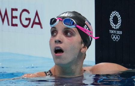 Jul 27, 2021; Tokyo, Japan; Regan Smith (USA) reacts after the women's 100m backstroke final during the Tokyo 2020 Olympic Summer Games at Tokyo Aquatics Centre. Mandatory Credit: Robert Hanashiro-USA TODAY Sports