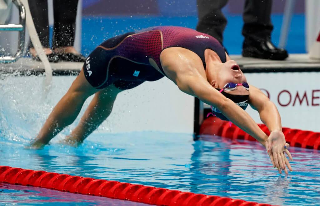 Jul 26, 2021; Tokyo, Japan; Regan Smith (USA) in the women's 100m backstroke semifinals during the Tokyo 2020 Olympic Summer Games at Tokyo Aquatics Centre. Mandatory Credit: Rob Schumacher-USA TODAY Sports
