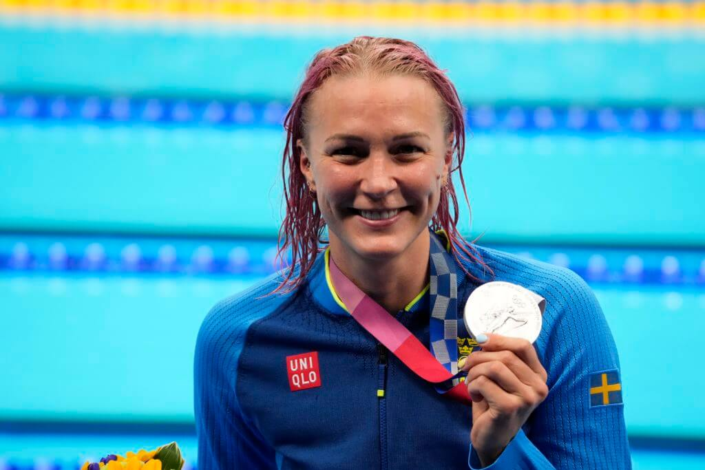 sarah sjostrom, olympics, Aug 1, 2021; Tokyo, Japan; Sarah Sjoestroem (SWE) with her silver medal during the medals ceremony for the women's 50m freestyle during the Tokyo 2020 Olympic Summer Games at Tokyo Aquatics Centre. Mandatory Credit: Robert Hanashiro-USA TODAY Sports