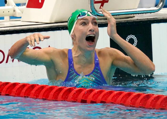 tatjana schoenmaker, olympics, Jul 30, 2021; Tokyo, Japan; Tatjana Schoenmaker (RSA) reacts after winning the women's 200m breaststroke final during the Tokyo 2020 Olympic Summer Games at Tokyo Aquatics Centre. Mandatory Credit: Grace Hollars-USA TODAY Sports