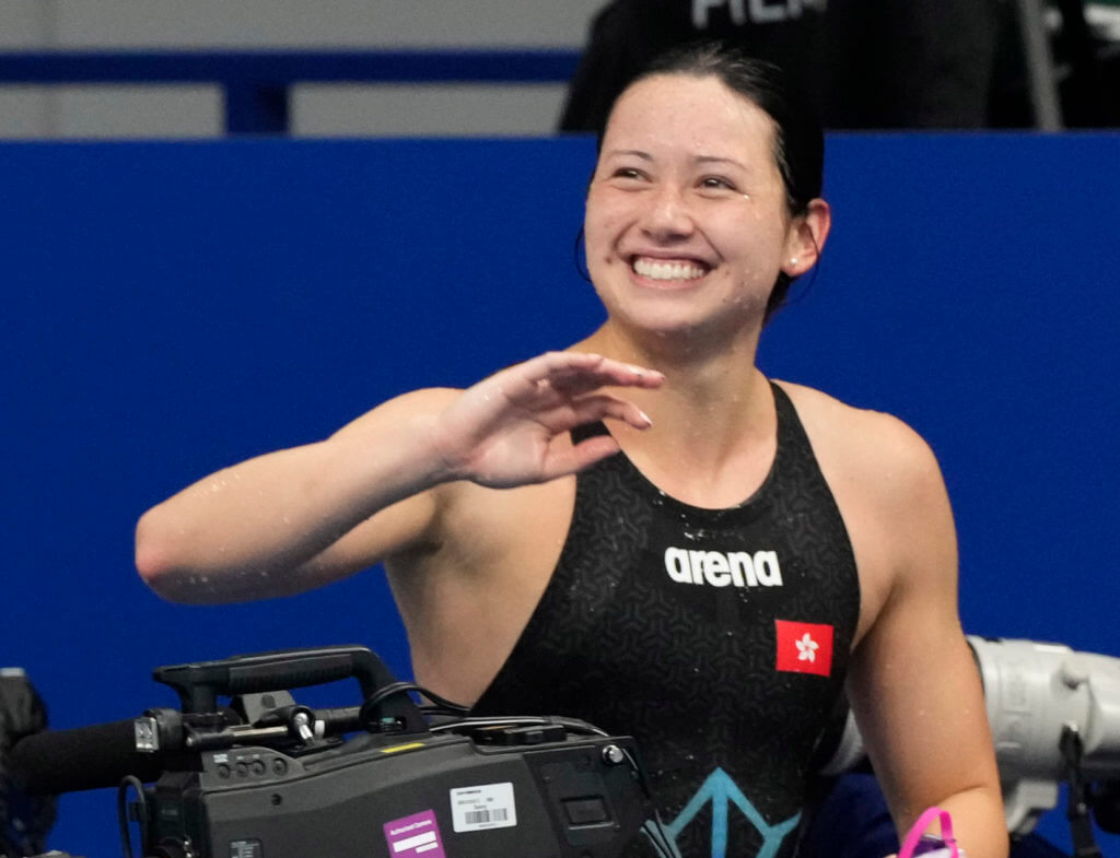 Jul 28, 2021; Tokyo, Japan; Siobhan Bernadette Haughey (HKG) reacts after placing second in the women's 200m freestyle final during the Tokyo 2020 Olympic Summer Games at Tokyo Aquatics Centre. Mandatory Credit: Rob Schumacher-USA TODAY Sports