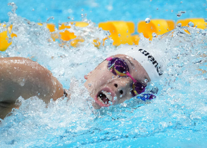 Jul 27, 2021; Tokyo, Japan; Siobhan Bernadette Haughey (HKG) in the women's 200m freestyle semifinals during the Tokyo 2020 Olympic Summer Games at Tokyo Aquatics Centre. Mandatory Credit: Robert Hanashiro-USA TODAY Sports