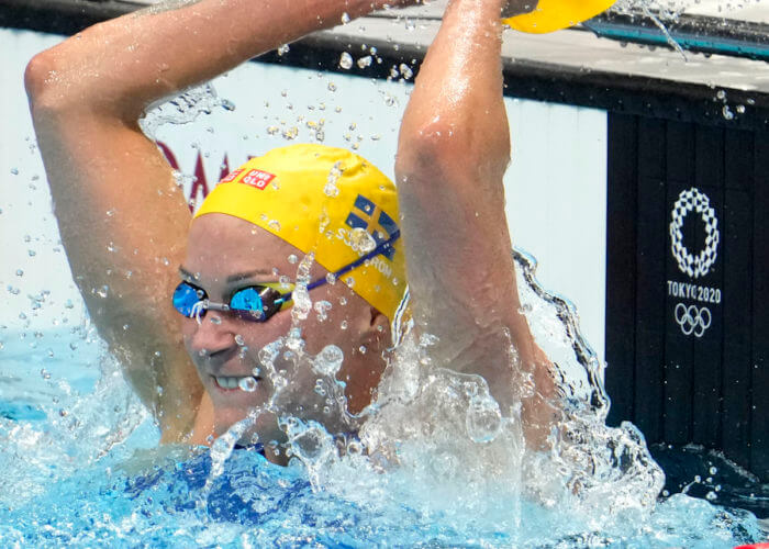 Aug 1, 2021; Tokyo, Japan; Sarah Sjoestroem (SWE) reacts after finishing second in the women's 50m freestyle final during the Tokyo 2020 Olympic Summer Games at Tokyo Aquatics Centre. Mandatory Credit: Robert Hanashiro-USA TODAY Sports