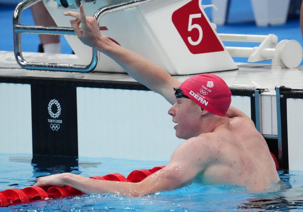 Jul 27, 2021; Tokyo, Japan; Tom Dean (GBR) celebrates after winning the men's 200m freestyle final during the Tokyo 2020 Olympic Summer Games at Tokyo Aquatics Centre. Mandatory Credit: Robert Hanashiro-USA TODAY Sports
