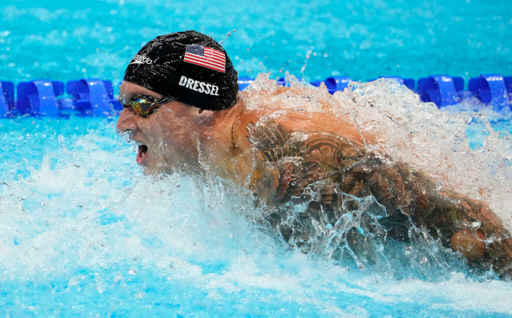 Aug 1, 2021; Tokyo, Japan; Caeleb Dressel (USA) in the men's 4x100m medley final during the Tokyo 2020 Olympic Summer Games at Tokyo Aquatics Centre. Mandatory Credit: Rob Schumacher-USA TODAY Sports
