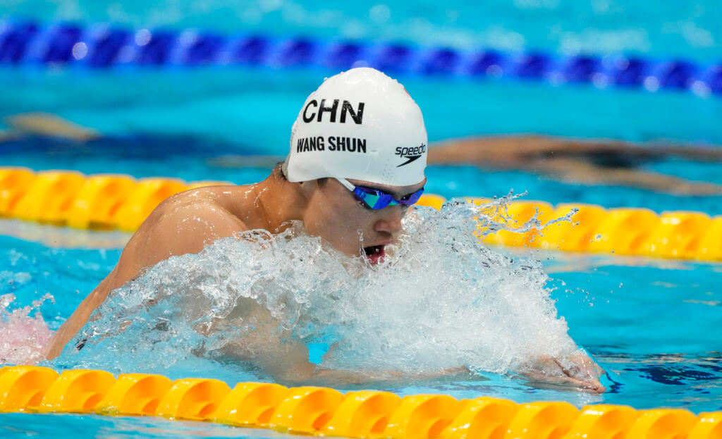 Jul 28, 2021; Tokyo, Japan; Wang Shun (CHN) in the men's 200m individual medley heats during the Tokyo 2020 Olympic Summer Games at Tokyo Aquatics Centre. Mandatory Credit: Rob Schumacher-USA TODAY Sports