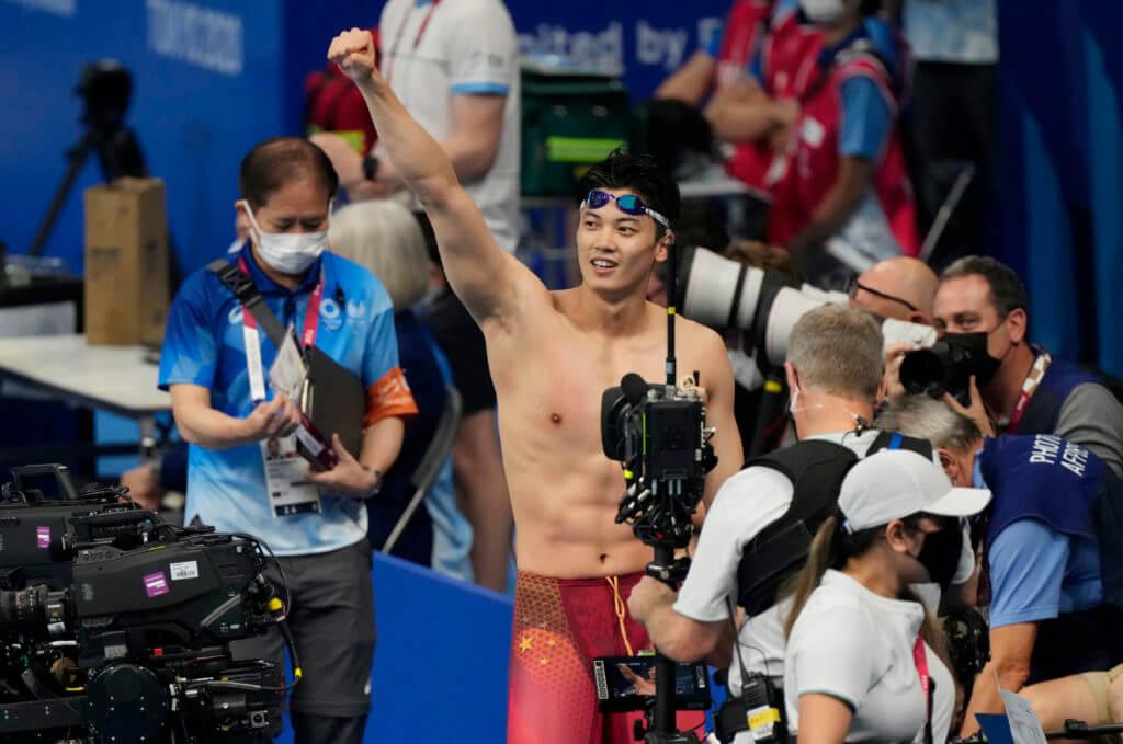 Jul 30, 2021; Tokyo, Japan; Wang Shun (CHN) celebrates after winning the men's 200m individual medley final during the Tokyo 2020 Olympic Summer Games at Tokyo Aquatics Centre. Mandatory Credit: Rob Schumacher-USA TODAY Sports