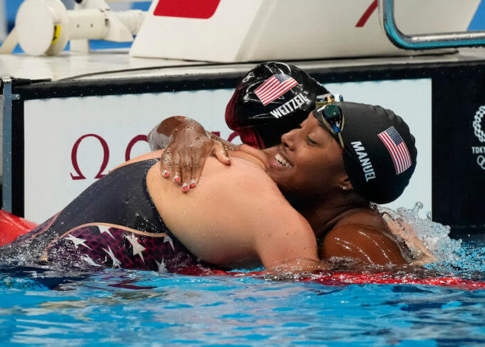 Jul 31, 2021; Tokyo, Japan; in the women's 50m freestyle semifinals during the Tokyo 2020 Olympic Summer Games at Tokyo Aquatics Centre. Mandatory Credit: Rob Schumacher-USA TODAY Sports