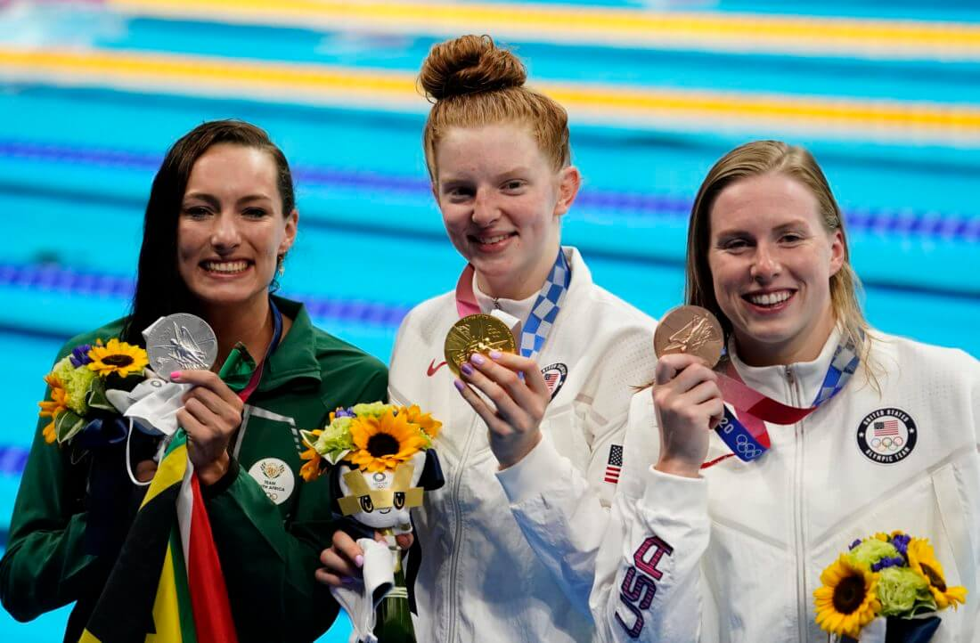 Jul 27, 2021; Tokyo, Japan; From left Tatjana Schoenmaker (RSA) , Lydia Jacoby (USA) and Lilly King (USA) with their medals during the medals ceremony for the women's 100m breaststroke during the Tokyo 2020 Olympic Summer Games at Tokyo Aquatics Centre. Mandatory Credit: Rob Schumacher-USA TODAY Sports