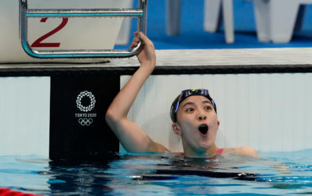 Jul 28, 2021; Tokyo, Japan; Yui Ohashi (JPN) celebrates after winning the women's 200m individual medley final during the Tokyo 2020 Olympic Summer Games at Tokyo Aquatics Centre. Mandatory Credit: Rob Schumacher-USA TODAY Sports