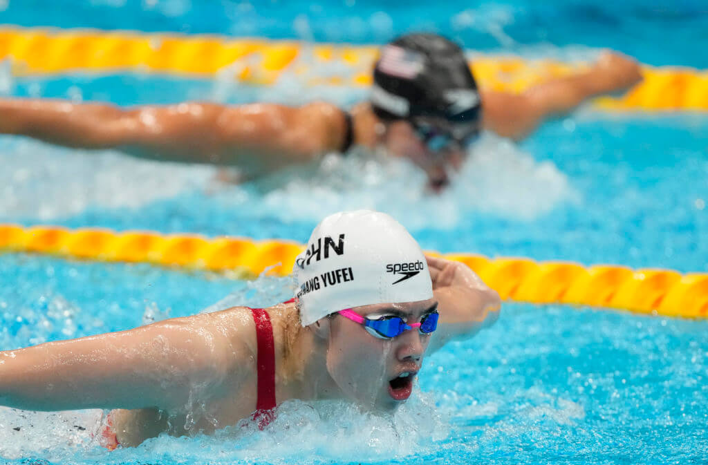 Jul 29, 2021; Tokyo, Japan; Zhang Yufei (CHN) leads Hali Flickinger (USA) in women's 200m butterfly final during the Tokyo 2020 Olympic Summer Games at Tokyo Aquatics Centre. Mandatory Credit: Rob Schumacher-USA TODAY Sports