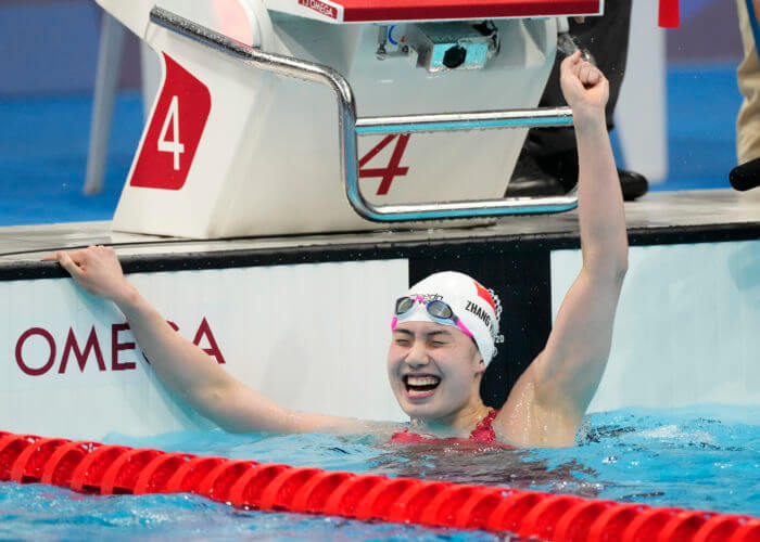 zhang yufei, olympics, Jul 29, 2021; Tokyo, Japan; Zhang Yufei (CHN) celebrates after winning the women's 200m butterfly final during the Tokyo 2020 Olympic Summer Games at Tokyo Aquatics Centre. Mandatory Credit: Rob Schumacher-USA TODAY Sports