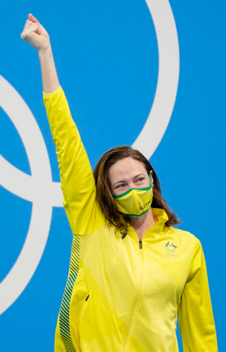 Jul 30, 2021; Tokyo, Japan; Cate Campbell (AUS) celebrates after finishing third in the women's 100m freestyle final during the Tokyo 2020 Olympic Summer Games at Tokyo Aquatics Centre. Mandatory Credit: Grace Hollars-USA TODAY Sports