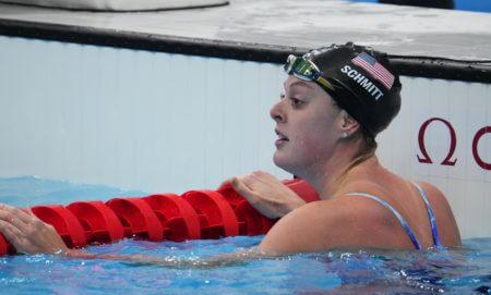 Jul 27, 2021; Tokyo, Japan; Allison Schmitt (USA) after the women's 200m freestyle semifinals during the Tokyo 2020 Olympic Summer Games at Tokyo Aquatics Centre. Mandatory Credit: Robert Hanashiro-USA TODAY Sports