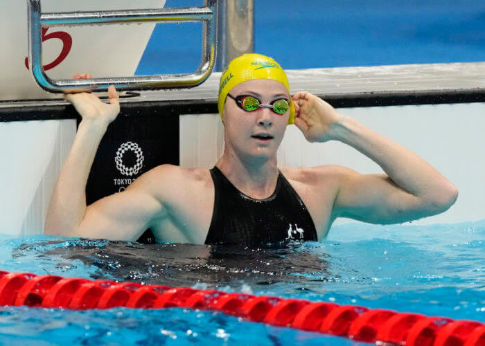 Jul 31, 2021; Tokyo, Japan; Cate Campbell (AUS) after the women's 50m freestyle semifinals during the Tokyo 2020 Olympic Summer Games at Tokyo Aquatics Centre. Mandatory Credit: Rob Schumacher-USA TODAY Sports