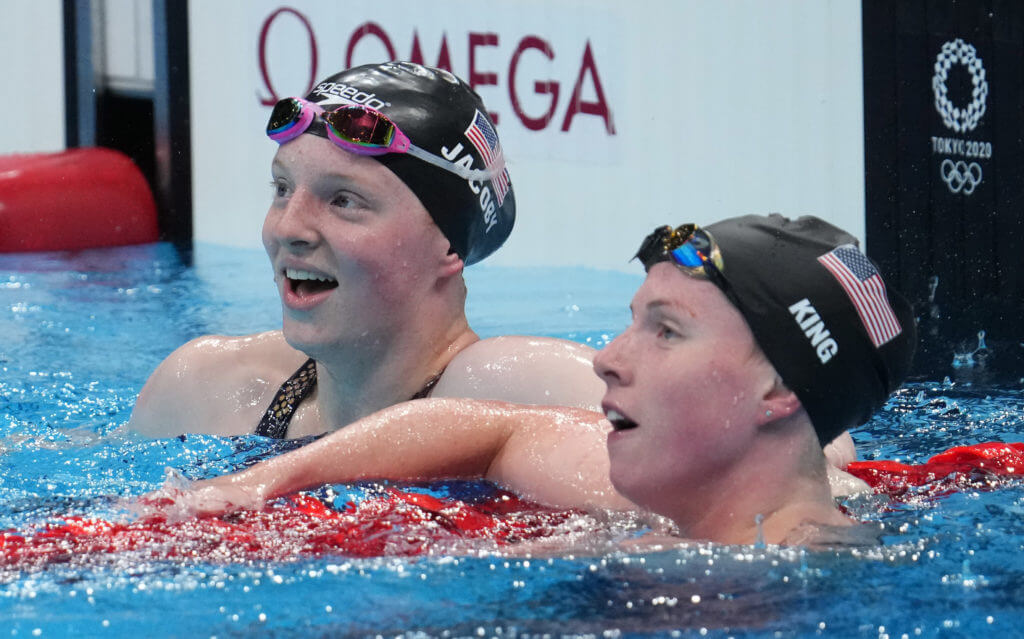 Jul 27, 2021; Tokyo, Japan; Lydia Jacoby (USA) and Lilly King (USA) celebrate after the women's 100m breaststroke final during the Tokyo 2020 Olympic Summer Games at Tokyo Aquatics Centre. Mandatory Credit: Robert Hanashiro-USA TODAY Sports