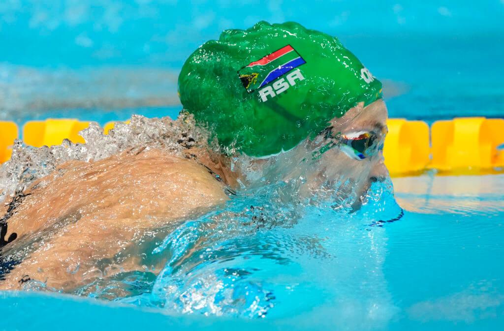 Jul 29, 2021; Tokyo, Japan; Tatjana Schoenmaker (RSA) in the women's 200m breaststroke semifinals during the Tokyo 2020 Olympic Summer Games at Tokyo Aquatics Centre. Mandatory Credit: Rob Schumacher-USA TODAY Sports