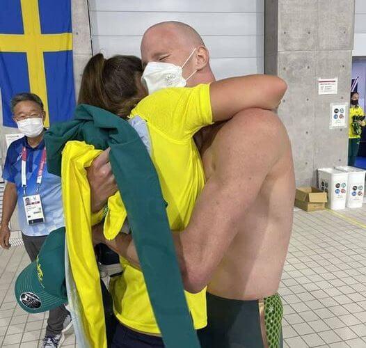 Rowan and coach Kate Sparkes hug