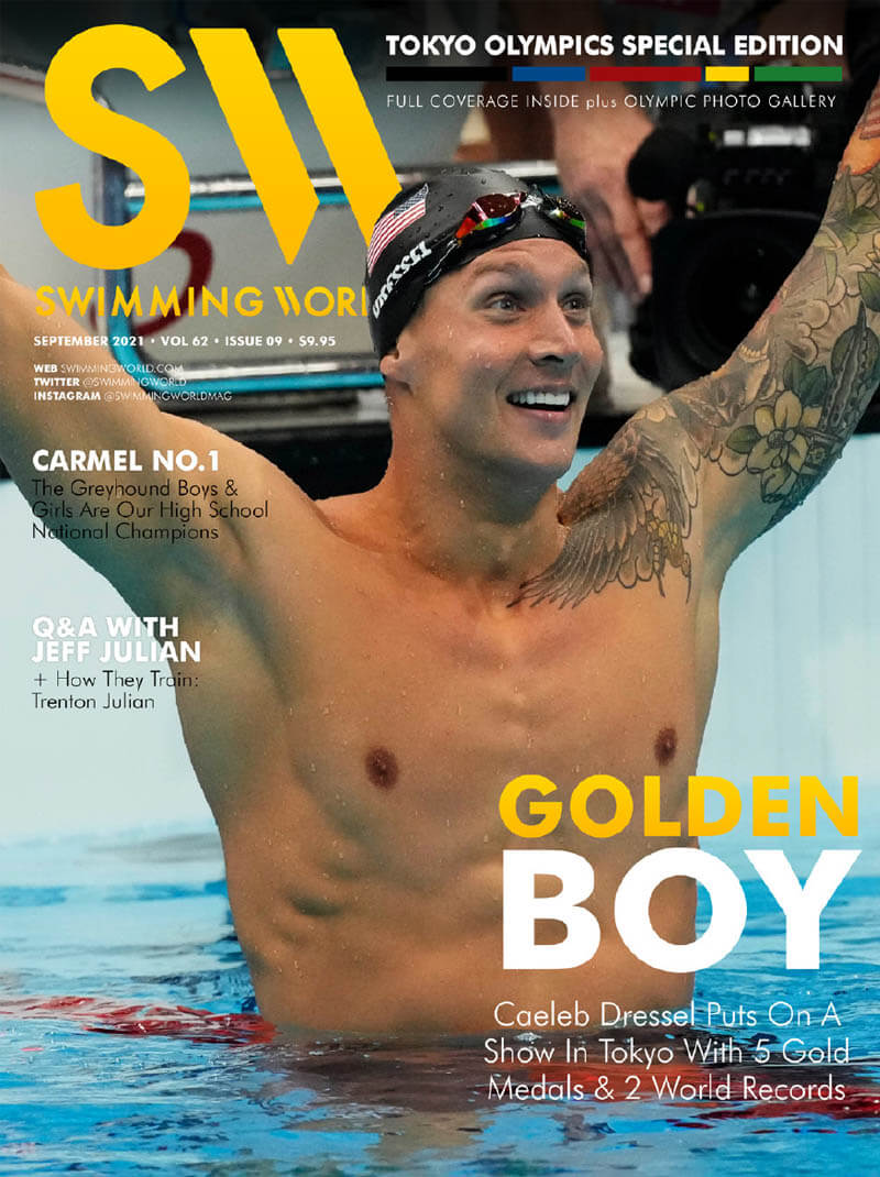 Swimming World September 2021 - Golden Boy Caeleb Dressel Puts On A Show In Tokyo With 5 Gold Medals and 2 World Records - COVER