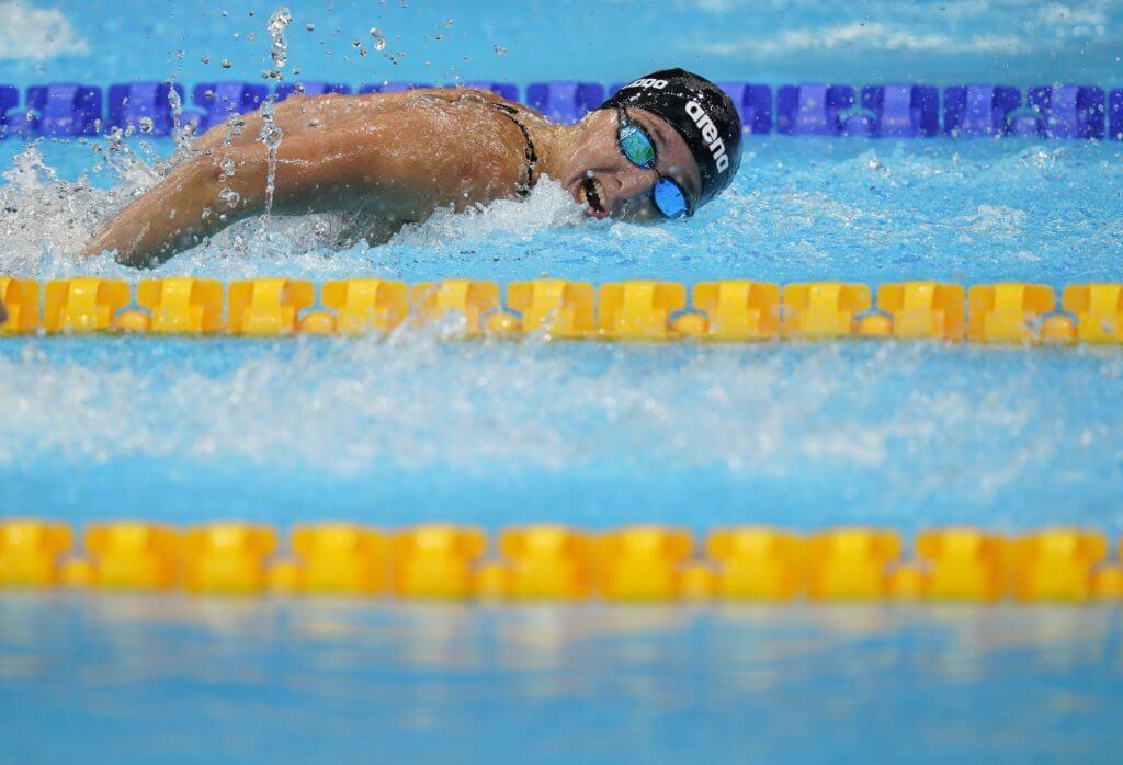 Jul 30, 2021; Tokyo, Japan; Rikako Ikee (JPN) in the women's 4x100m medley relay heats during the Tokyo 2020 Olympic Summer Games at Tokyo Aquatics Centre. Mandatory Credit: Grace Hollars-USA TODAY Sports