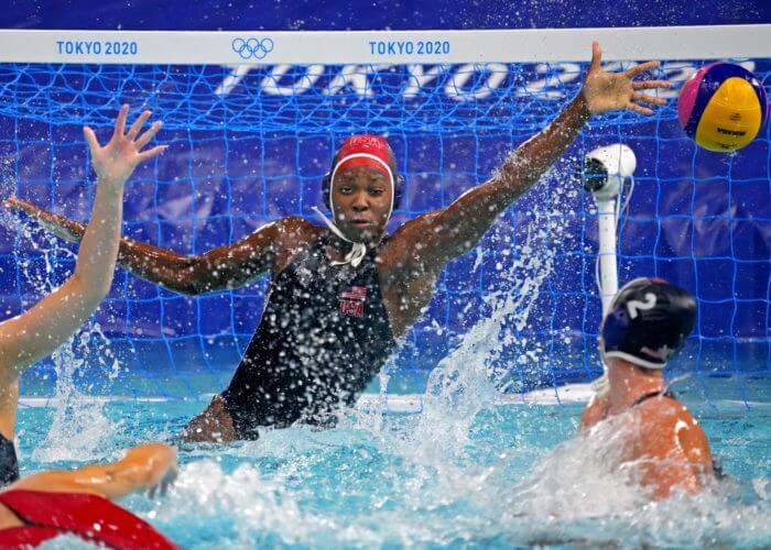 Aug 7, 2021; Tokyo, Japan; United States goalkeeper Ashleigh Johnson (1) tries for make a save against Spain in the women's waterpolo gold medal match during the Tokyo 2020 Olympic Summer Games at Tatsumi Water Polo Centre. Mandatory Credit: Robert Deutsch-USA TODAY Sports
