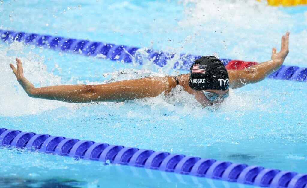 Torri Huske, college swimmers, Jul 26, 2021; Tokyo, Japan; Torri Huske (USA) in the women's 100m butterfly final during the Tokyo 2020 Olympic Summer Games at Tokyo Aquatics Centre. Mandatory Credit: Rob Schumacher-USA TODAY Sports