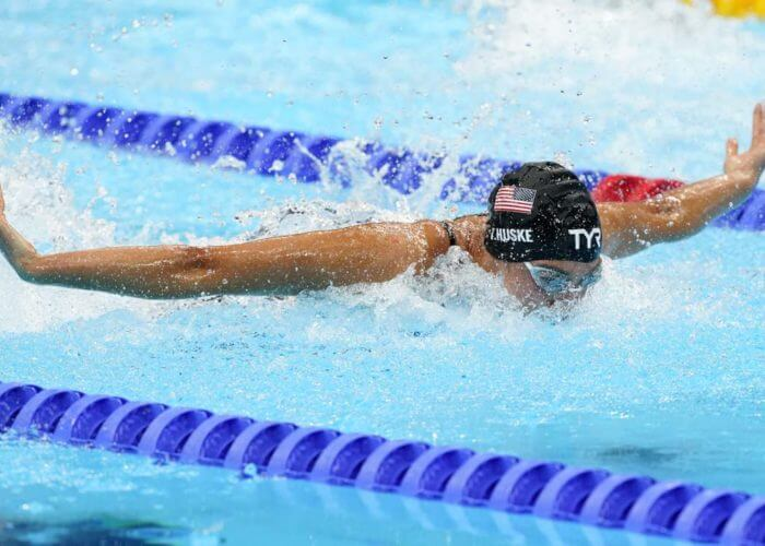 Jul 26, 2021; Tokyo, Japan; Torri Huske (USA) in the women's 100m butterfly final during the Tokyo 2020 Olympic Summer Games at Tokyo Aquatics Centre. Mandatory Credit: Rob Schumacher-USA TODAY Sports