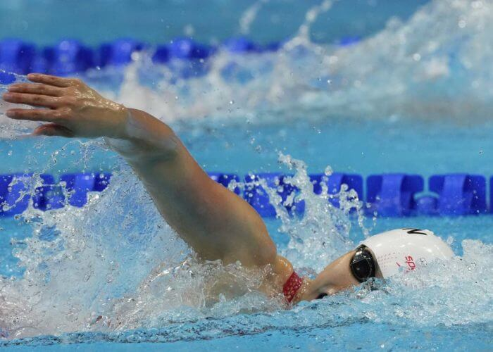 Jul 28, 2021; Tokyo, Japan; Yang Junxuan (CHN) in the women's 200m freestyle final during the Tokyo 2020 Olympic Summer Games at Tokyo Aquatics Centre. Mandatory Credit: Rob Schumacher-USA TODAY Sports